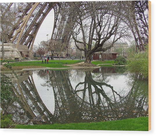 Eiffel Base Reflection Wood Print