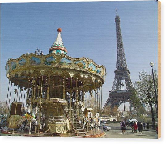Eiffel Carousel Wood Print