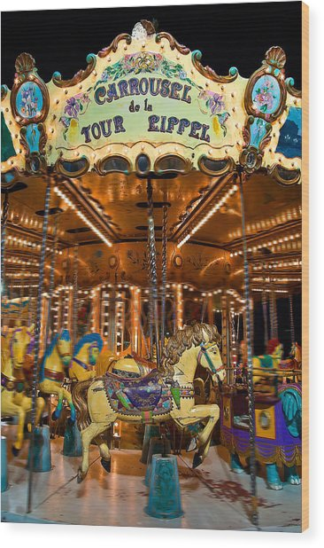 Eiffel Carrousel Wood Print