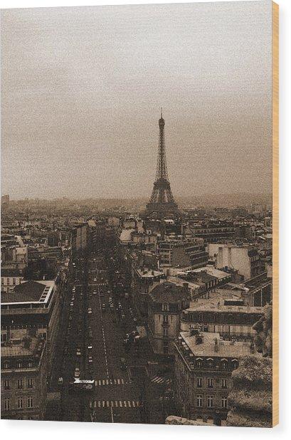 Eiffel In The Neighborhood Wood Print