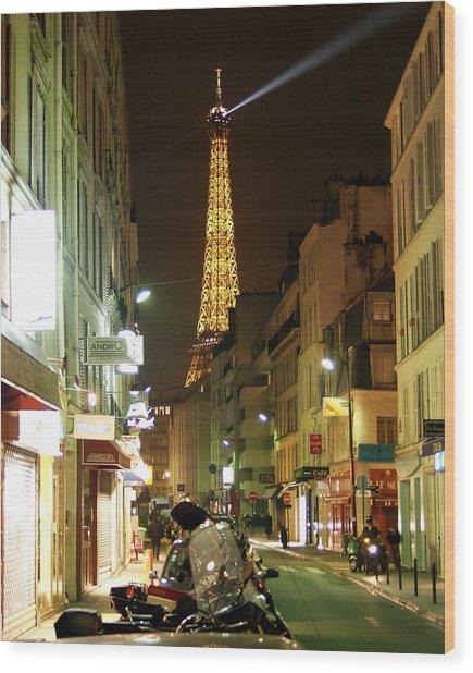 Eiffel In The Street Wood Print