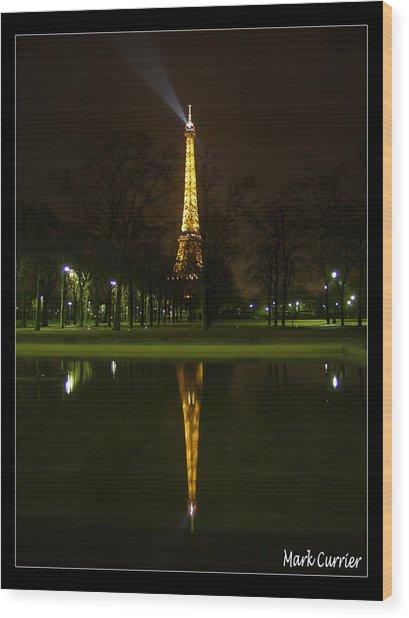 Eiffel Reflection Wood Print