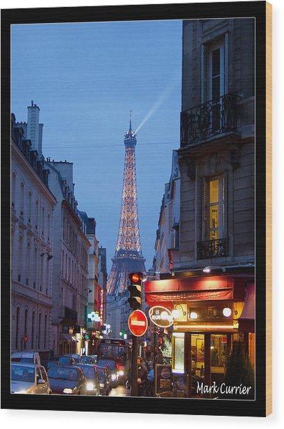 Eiffel Suburb At Dusk Wood Print