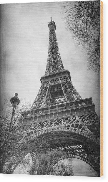 Eiffel Tower And Lamp Post Bw Wood Print