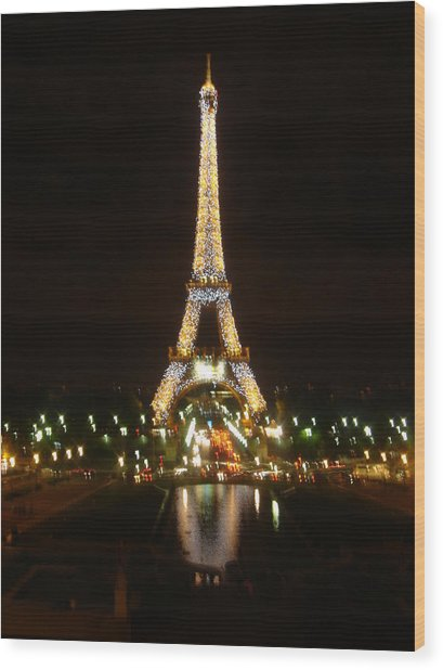 Eiffel Tower At Night Wood Print by John Julio