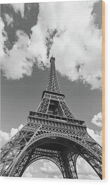 Eiffel Tower - Black And White Wood Print