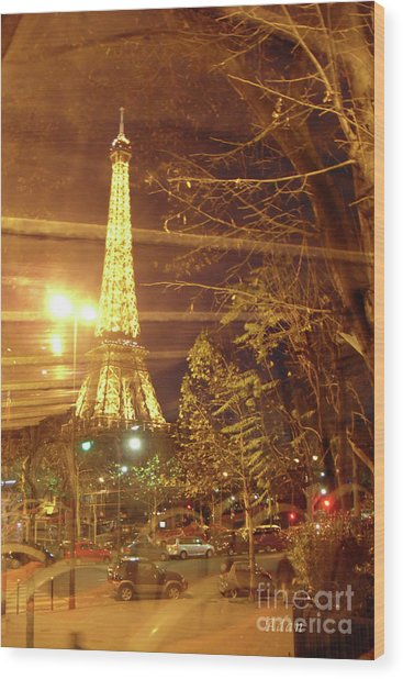 Eiffel Tower By Bus Tour Wood Print