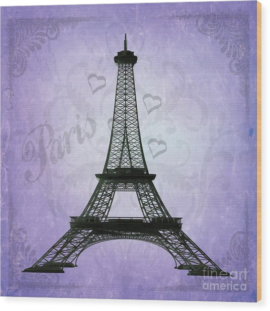 Eiffel Tower Collage Purple Wood Print