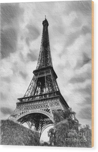 Eiffel Tower Dream Bw Wood Print by Mel Steinhauer
