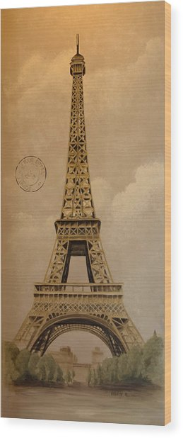 Eiffel Tower Wood Print by Holly Whiting