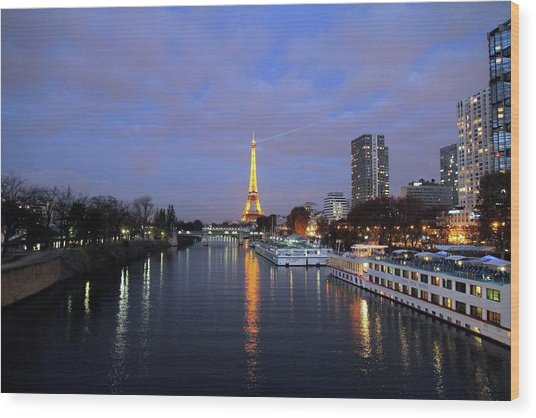 Eiffel Tower Over The Seine Wood Print