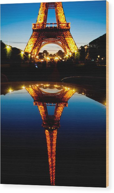 Eiffel Tower Reflection Wood Print