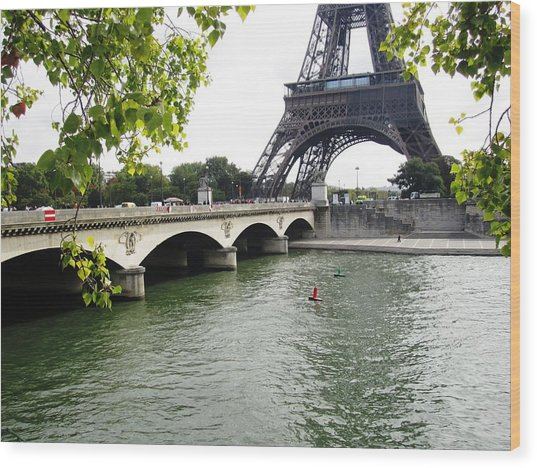 Eiffel Tower Seine River Paris France Wood Print