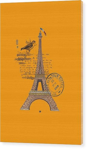 Eiffel Tower T Shirt Design Wood Print