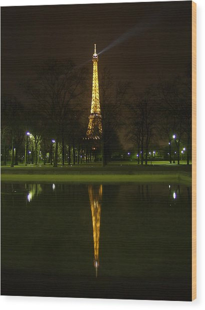 Eiffel Twin Reflection Wood Print