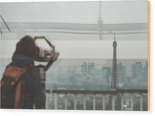 Wood Print featuring the photograph Eiffel View by Nikos Stavrakas