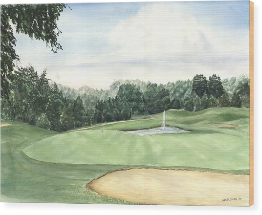 Eight Green The Trails Golf Course Wood Print by Lane Owen