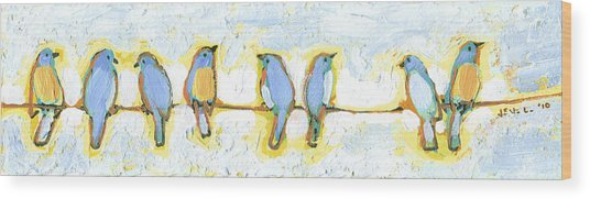 Eight Little Bluebirds Wood Print
