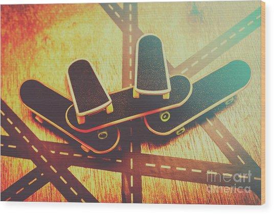 Eighties Street Skateboarders Wood Print