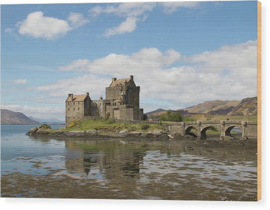 Wood Print featuring the photograph Eilean Donan Castle - Scotland by Karen Van Der Zijden