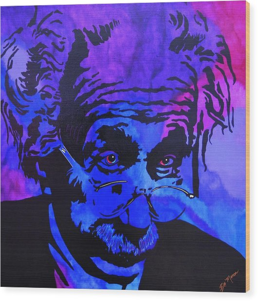Einstein-all Things Relative Wood Print