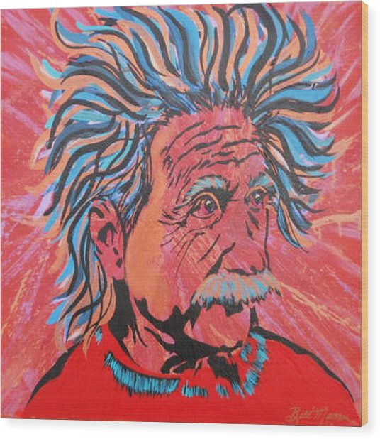 Einstein-in The Moment Wood Print