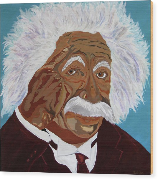 Einstein-relative Thinking Wood Print