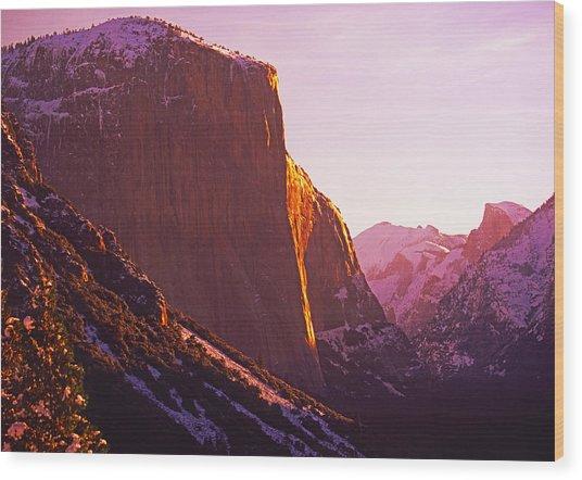 El Capitan And Half Dome, Yosemite N.p. Wood Print