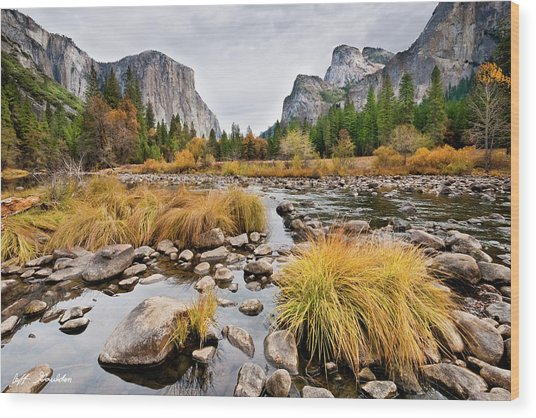 El Capitan And The Merced River In The Fall Wood Print