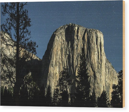 El Capitan By Starlight, Yosemite Valley, Yosemite Np, Ca Wood Print