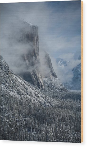 El Capitan In Clouds Wood Print