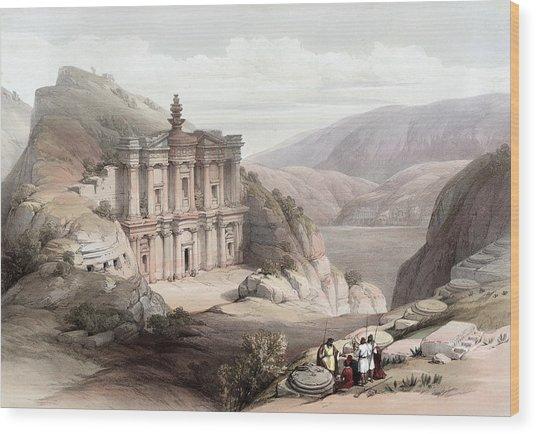 El Deir Petra 1839 Wood Print
