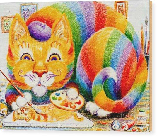 el Gato Artisto Wood Print