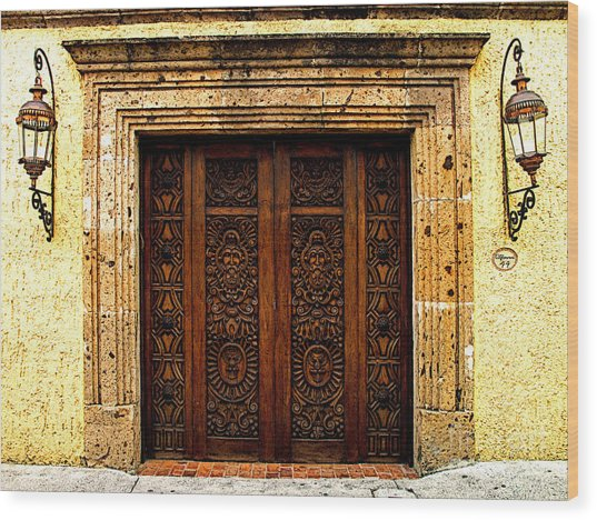 Elaborate Puerta Wood Print by Mexicolors Art Photography