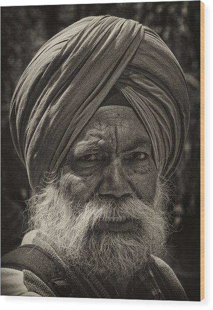 Elderly Sikh  Wood Print