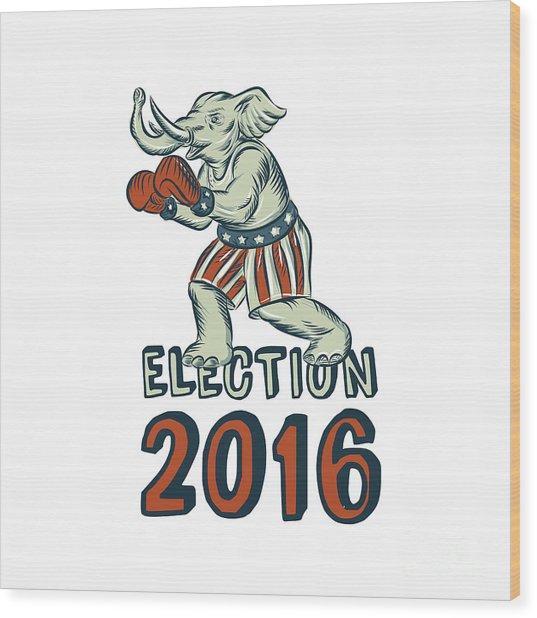 Election 2016 Republican Elephant Boxer Etching Wood Print