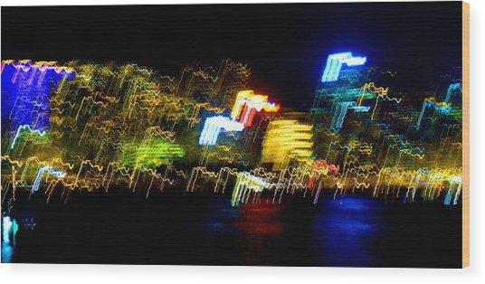 Electri City Wood Print by Roberto Alamino
