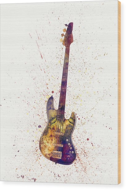 Electric Bass Guitar Abstract Watercolor Wood Print