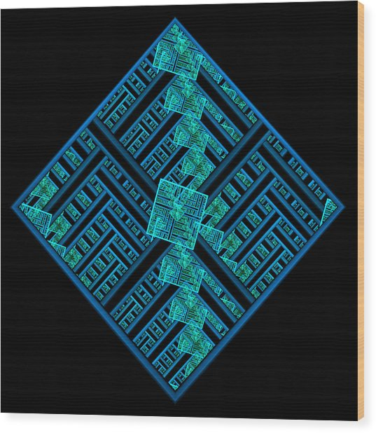 Electric Blue Squares Wood Print
