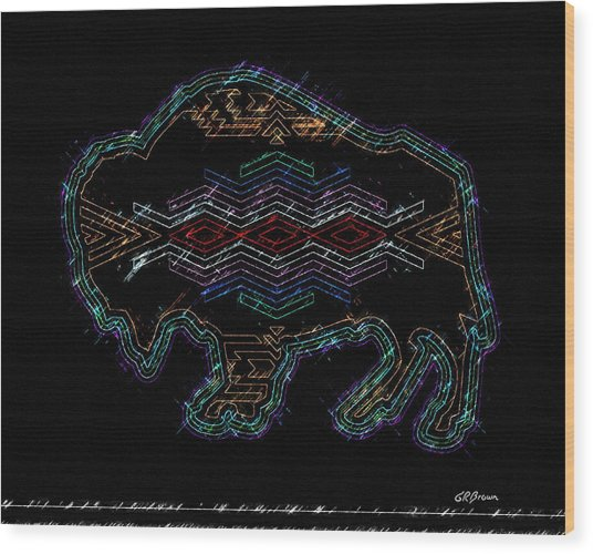 Electric Buffalo Wood Print