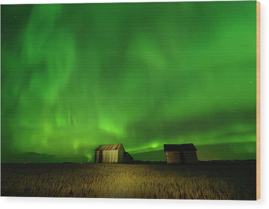 Electric Green Skies Wood Print