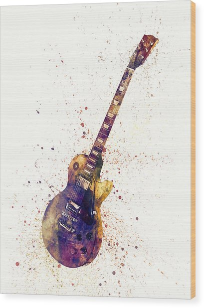 Electric Guitar Abstract Watercolor Wood Print