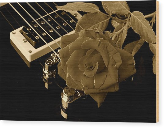 Electric Guitar And Rose Wood Print