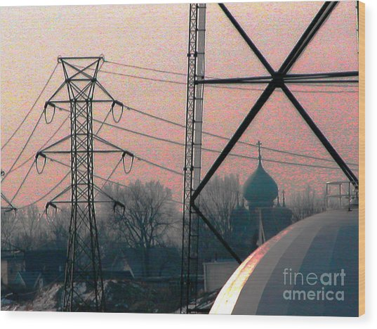 Electric Onion Domes Wood Print by Donna Stewart