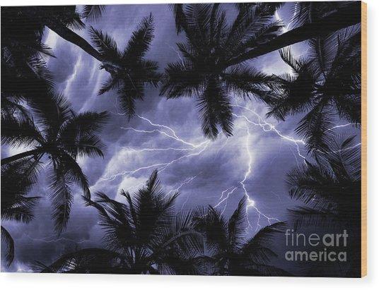 Electric Palms Wood Print