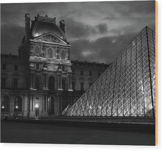 Electric Pyramid, Louvre, Paris, France Wood Print