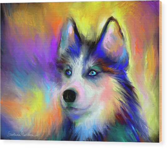 Electric Siberian Husky Dog Painting Wood Print