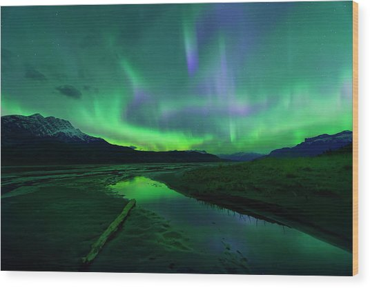 Electric Skies Over Jasper National Park Wood Print