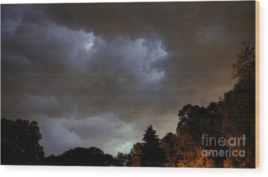 Electric Sky Of Faces Wood Print