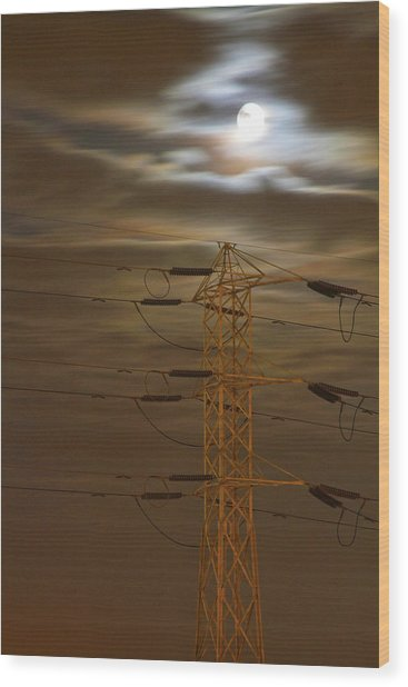 Electric Tower Under Supermoon Wood Print